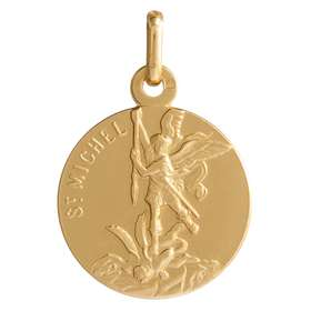 Médaille de saint Michel 18mm, plaqué or