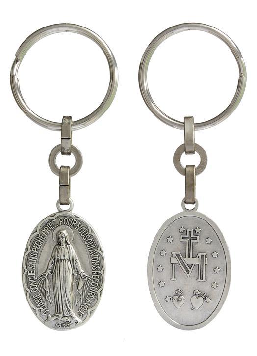 Porte-clef de la Vierge de la médaille miraculeuse