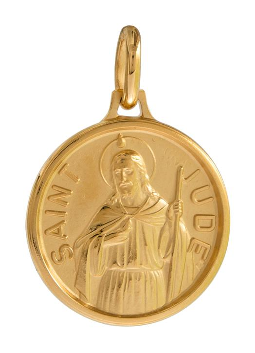 Medal of Saint Jude, gold plated metal - 18 mm