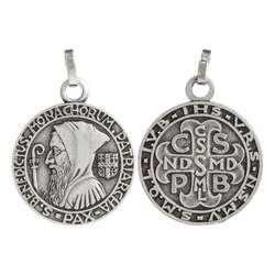 Medalla de San Benito, plateado - 20 mm