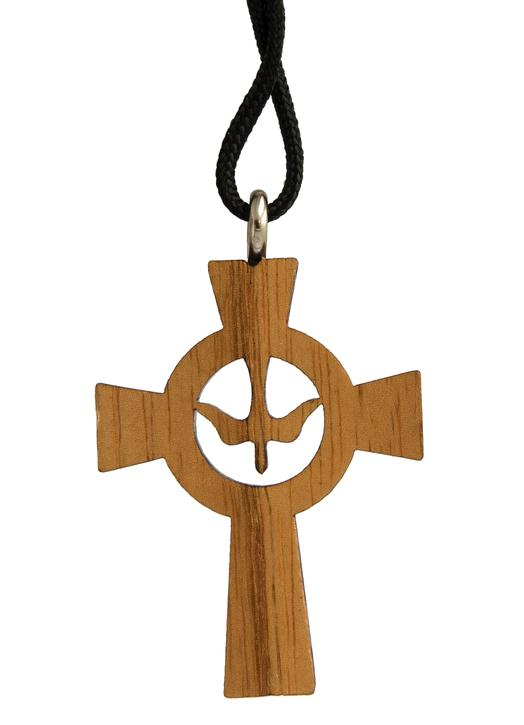 varnished wooden cross pendentive with dove