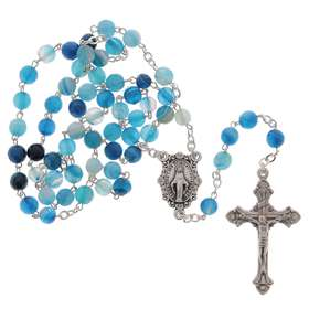 Rosary blue agate facet