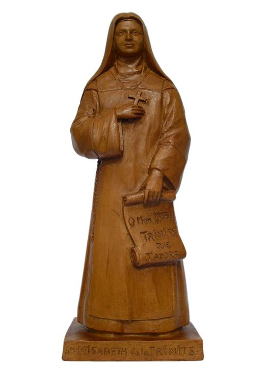 Statue of St. Elizabeth of the Trinity, 20 cm wood tone (Vue de face)