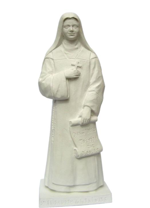 Statue of St. Elizabeth of the Trinity, 20 cm, white (Vue de face)