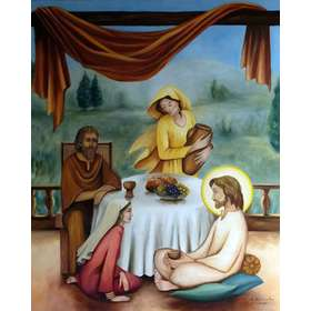 Icône de Jésus avec Marthe, Marie et Lazare