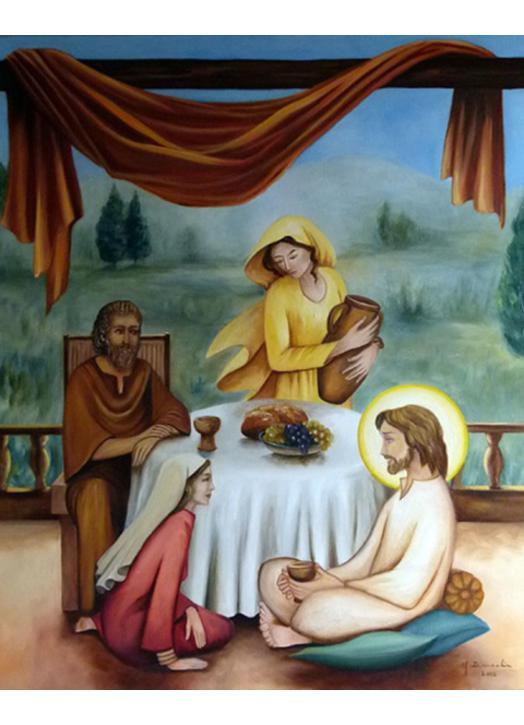 Icono de Jesús con Marta, María y Lázaro