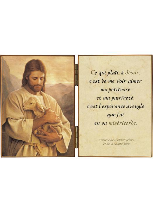 Le Bon Pasteur et une citation de saint Thérèse de l'Enfant-Jésus