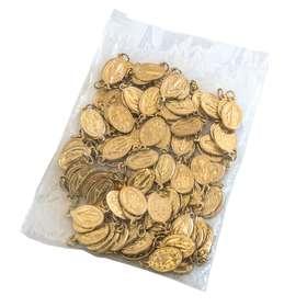 Médailles miraculeuses dorées aluminium - 18 mm - lot de 100 (Lot de 100 médailles)