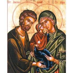 Icône de saints Joachim et Anne avec la sainte Vierge