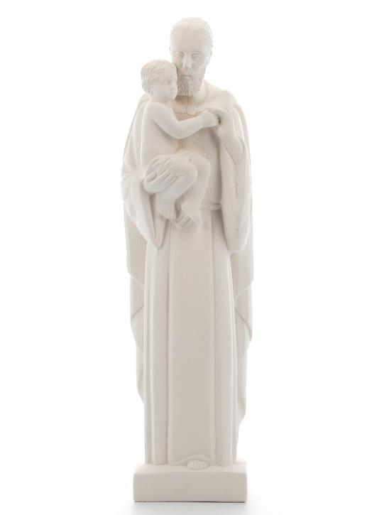 Statue de saint Joseph avec l'Enfant-Jésus, moderne, blanc, 20 cm (Vue face)