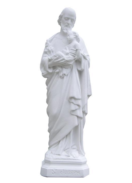 Statue de saint Joseph en Hydracal blanc, 20 cm (Vue de face)
