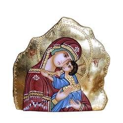 """icono sobre piedra de la Virgen Madre """"Ternura"""" Eleousa"""