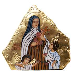 icono sobre piedra de Santa Teresa del Niño Jesús