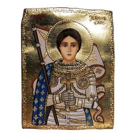 Stone icon of Saint Joan of Arc
