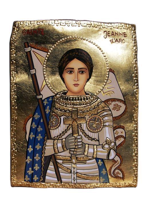 Stone icon of Saint Joan of Arc