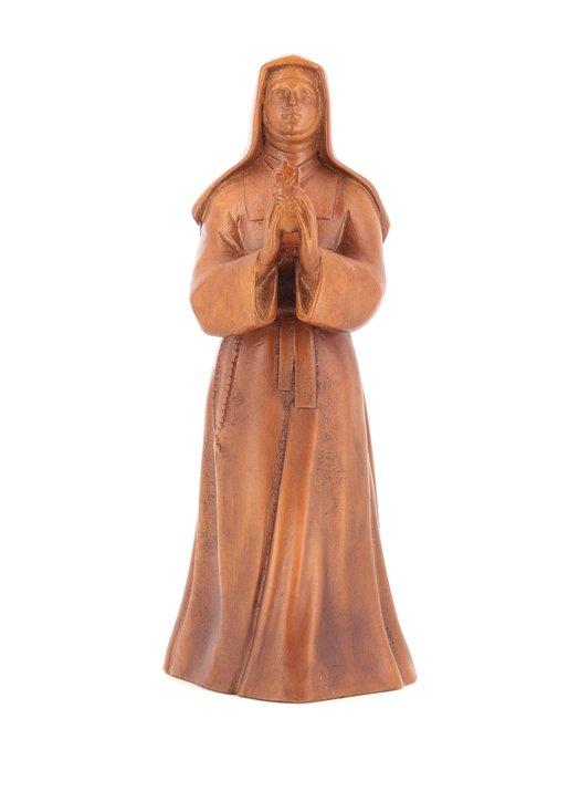 Statue de Sainte Marguerite Marie, 20 cm, bois clair (Vue de biais)