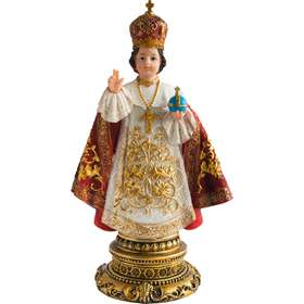 Statue of the Infant Jesus of Prague, polychrome, 30 cm (Vue de face)