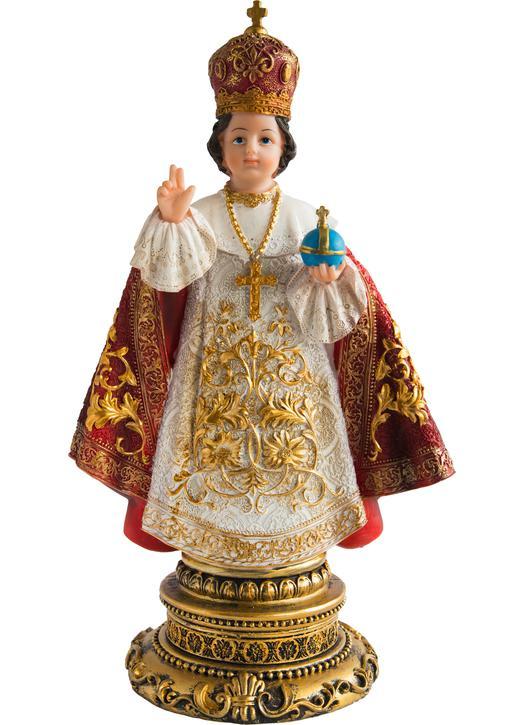 Standbeeld van het kindeke Jezus van Praag, polychroom, 30 cm (Vue de face)