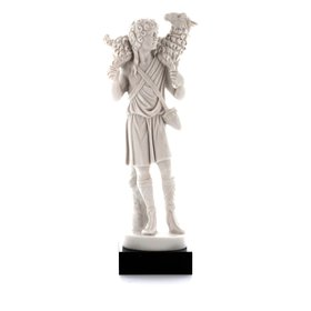 Statue of the Good Shepherd alabaster - 17,5 cm (Vue de face)