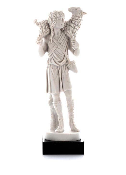 Statue du Bon Pasteur, albâtre - 17,5 cm (Vue de face)