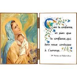 Virgin en Kind met een citaat op vertrouwen