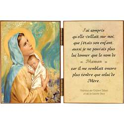 La Vierge et l'Enfant avec une citation sur Marie, notre Mère
