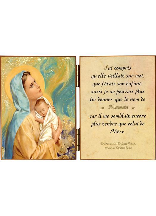 La Virgen María y el Niño Jesús con una cita sobre María, nuestra Madre