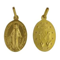 Miraculous medal, gold-coloured metal - 17 mm