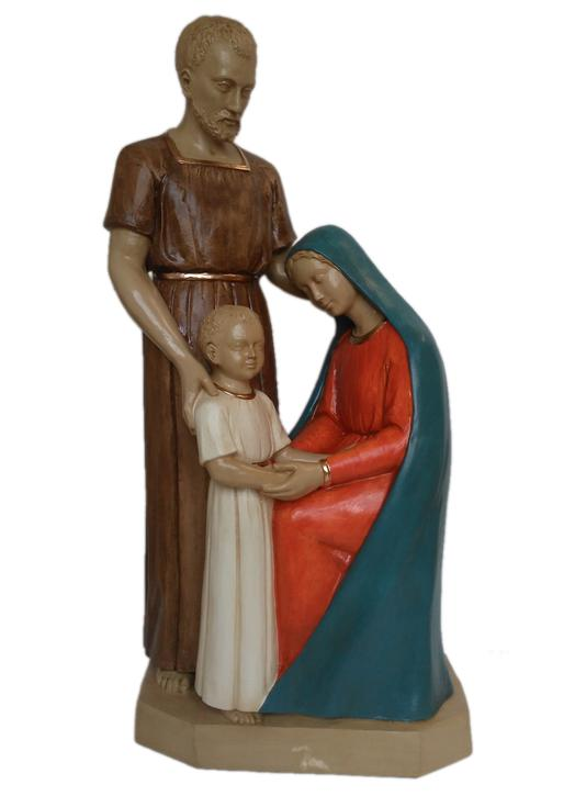 Estatua de la Sagrada Familia, 80 cm, polícromo