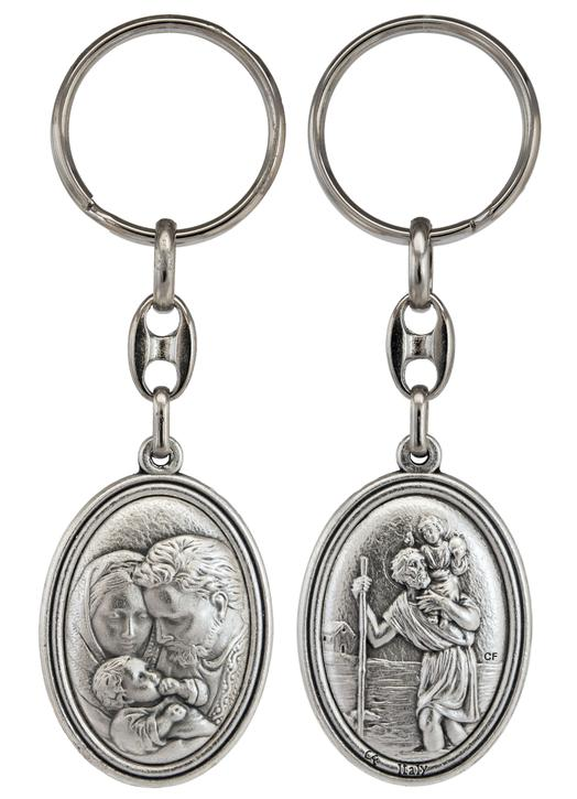 Holy Family and Saint Christopher keychain