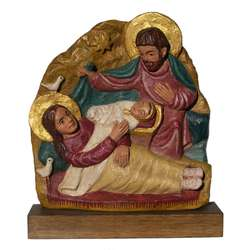 Polychrome bas-relief of the Nativity