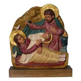 Bajorrelieve policromado de la Natividad