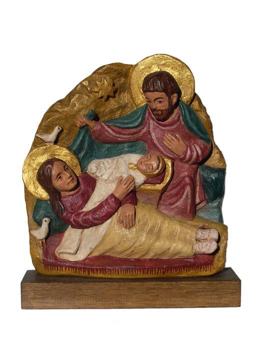 Polychrome bas-reliëf van de Geboorte