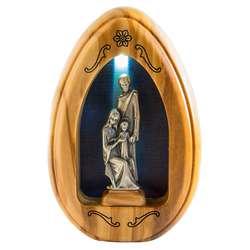 Estatuilla de la Sagrada Familia en plata plateada - 11,2 cm (Vue de face avec lumière)