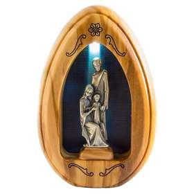 Statuette de la Sainte Famille en métal argenté - 11,2 cm (Vue de face avec lumière)