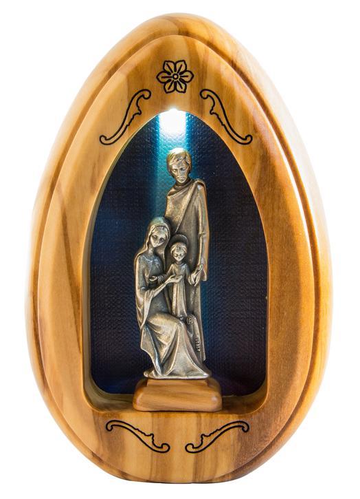 Statuette of the Holy Family in silver-coloured metal - 11,2 cm (Vue de face avec lumière)