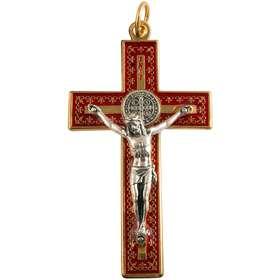 petit crucifix saint Benoît métal rouge et doré - 8 cm (Vue de face)