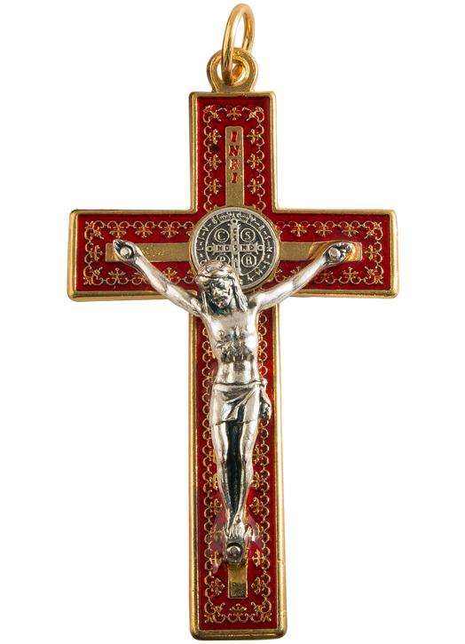 small crucifix Saint Benedict metal red and gold: 8 cm (Vue de face)
