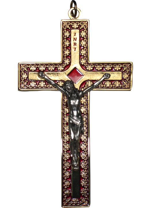 Kruisbeeld rood en goud metaal - 12,5 cm (recto)
