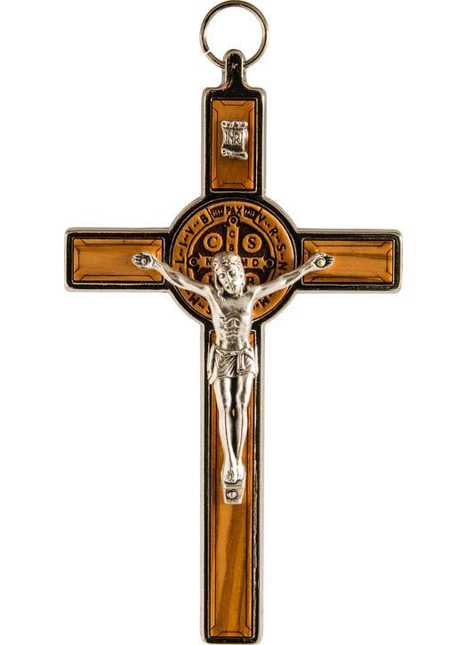 Crucifix de saint Benoît bois et métal - 12,7 cm (recto)