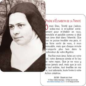 Card-prayer saint Elisabeth of the Trinity (Recto-Verso)