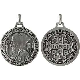 Medalla de San Benito, plateado - 40 mm