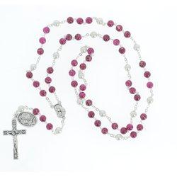 Chapelet de saint Joseph, imitation perles de culture violettes