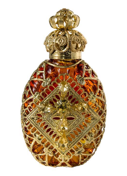 Flacon en verre de Bohême (couleur orange) (Vue de face)