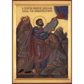 Icône religieuse de Moïse qui reçoit la Loi