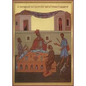 Icoon van de gelijkenis van de rijke en arme Lazarus