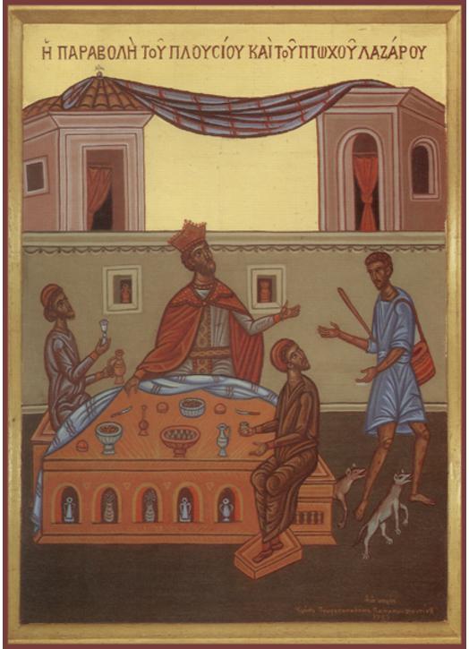Icono de la parábola de los ricos y pobres Lázaro