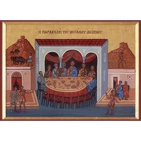 Icono de la parábola del Rey invitando a la Fiesta