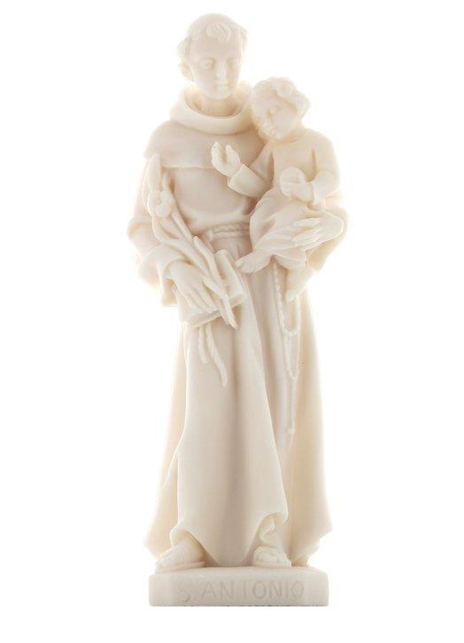 Statue de Saint Antoine de Padoue, 20 cm, en albâtre (Vue de face)