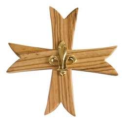 Croix scoute avec lys - 15 cm
